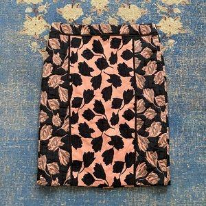 Ann Taylor Texture Floral Jacquard Pencil Skirt 10